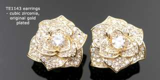 Cubic zirconia white gold pt rose flower stud earrings