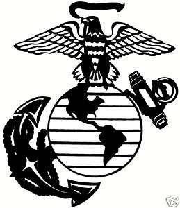 Marine Corps USMC EGA Sticker Decal 5 x5.75 BLACK