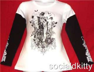 2X~SKULL WEDDING~punk/gothic~SPARKLE~rockabilly~tattoo~BATS~SHIRT~top