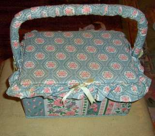 Vintage Fabric covered Sewing Basket Lined