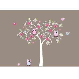 Vinyl Wall Decal Curl Tree Set with Birds and Owls