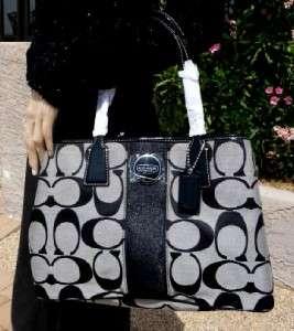 NEW Coach Signature Striped Framed CarryAll Tote Shoulder Bag Handbag