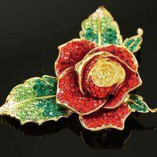 Swarovski Crystal Red Rose Leaf Gold GP Brooch Pin e17