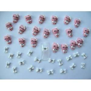 com Nail Art 3d 40 Pieces Dark Pink/White Hello Kitty & Bow for Nails