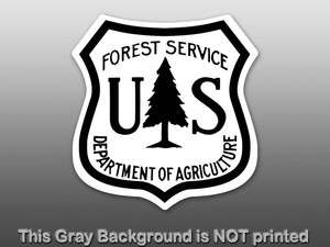 White US Forest Service Shield Sticker   decal hike camp forestry tree