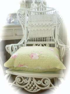 Wicker Chair Cushion Pillow Shabby Beach Pink Rose Cottage Country