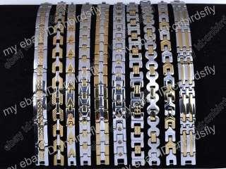 jewelry Lots Gold Silver bicolor Stainless Steel Charm Men Bracelets