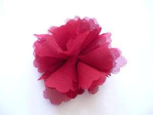 RED 100% SILK Rose Flower Tie Hair Clip Band Brooch Pin
