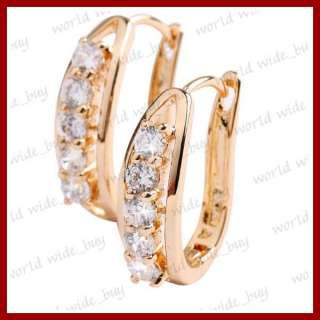 Cubic Zirconia CZ Beads Hoop Fashion Gold Plated Clear Huggie Earrings
