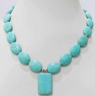 Tibet Jewelry Ancient Tone Turquoise Bead Necklace 18