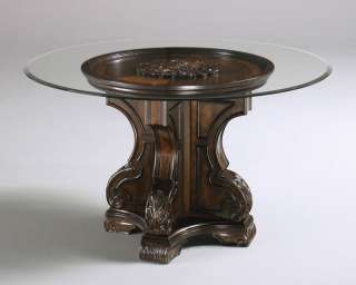 TRADITIONAL ROUND PEDESTAL GLASS TOP DINING ROOM TABLE & CHAIRS SET