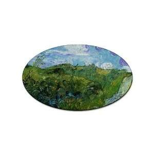 Green Wheat Fields By Vincent Van Gogh Oval Sticker