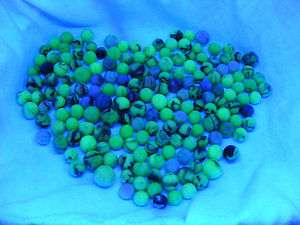 Vintage 1930s Alley Agate Vaseline Uranium Glass Marbles Night Club