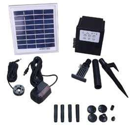 5W Solar Panel Water Pump Batt. Timer LEDs Light Combo