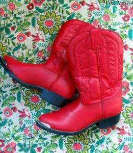 Girls Cowboy Cowgirl Western Durango Boots Red Sz 13.5