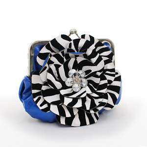 Rustic Couture Zebra Flower Clutch Evening Purse Blue