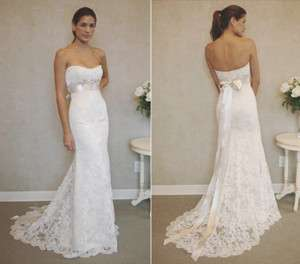 Stock White/Ivory Lace Wedding Dress Prom Formal Gown Size 6 8 10 12