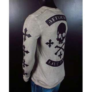 Thermal Shirt SPEED KILLS Henley Leather Skulls and Crosses