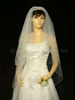 2T Ivory Waltz Knee Beaded Motifs Pencil Edge Bridal Wedding Veil