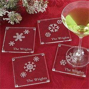 Holiday Snowflake Personalized Glass Coaster Set Kitchen