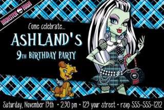 Monster High Birthday U PRINT Ticket or 4X6 Custom Invitations