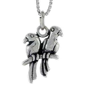 Silver Love Birds Pendant (w/ 18 Silver Chain), 3/4 inch (19mm) tall