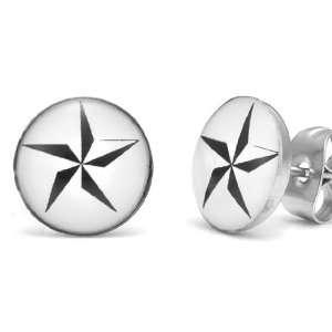 Combat Studs Stainless Steel Mens Star Stud Earrings Jewelry