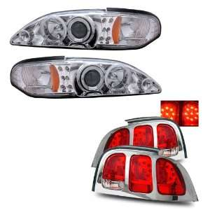 94 98 Ford Mustang Chrome LED Halo Projector Headlights /w Amber + LED