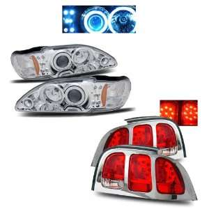 Mustang Chrome CCFL Halo Projector Headlights + LED Tail Lights Combo
