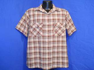 vintage 80S BIG MAC BROWN TAN PLAID MENS BUTTON DOWN SS SHIRT LARGE L