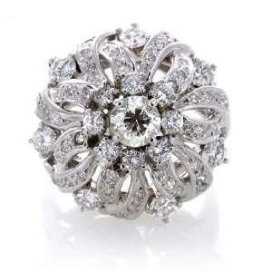 Estate Retro 3.1 Carat Diamond White Gold Cocktail Ring Jewelry