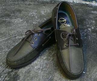 Premium Mens Genuine Leather Boat Shoes SS041 Khaki Sz.