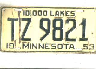 LOT F~1953 MINNESOTA~TZ 9821~TRUCK~LICENSE PLATE~TAG