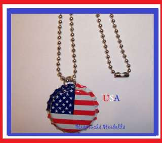 USA AMERICAN FLAG BOTTLE CAP NECKLACE 4TH OF JULY