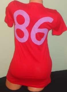 NEW~Red 86 Back VS Victorias Secret PINK V Neck Tee T Shirt Top