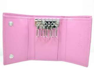Genuine Pink Crocodile Leather Trifold Keychain Wallet
