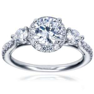 18K White Gold Contemporary Halo Engagement Ring   Does not Include