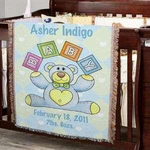 Personalized Baby Boy Teddy Bear Blanket Throw Gifts