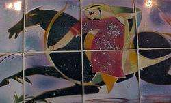 EAMES ART ABSTRACT STYLIZED MID CENTURY MODERNIST LARGE TILE WALL ART