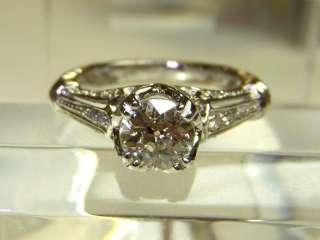 Diamond Ring Antique Art Deco Style 14k White Gold 1.21ctw sz 6.5