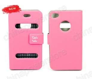 Table Talk Flip Leather Pouch Case Skin Cover for Apple iPhone 4 4G 4S