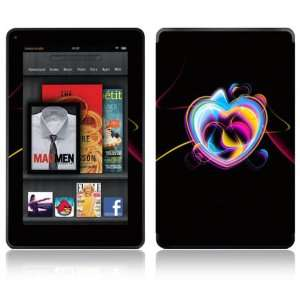 Kindle Fire Decal Skin Sticker   Neon Hearts