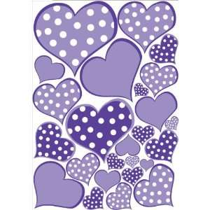 Purple Pastel Polka Dot Heart Wall Decals Stickers Baby