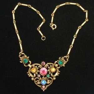 Coro Necklace Vintage w/ Multi Colored Rhinestones