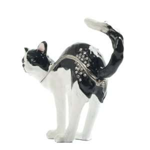 Treasured Trinket Box   Standing Black & White Cat New