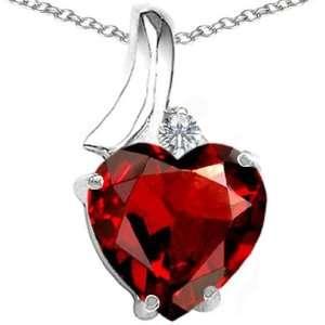 CandyGem 14k Gold Genuine Heart Shape Garnet and Diamond Pendant(Metal