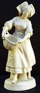 Small Bisque Figurine French Woman Holding Basket 1860