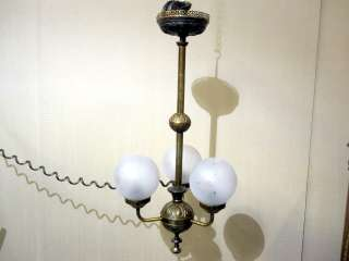 & Frosted Etched Glass Lamp Ceiling Light w Cord Unique Great Cond