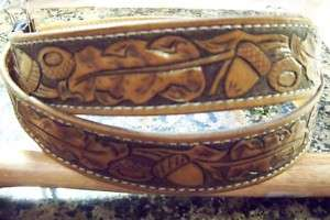 Hand Tooled Leather Belt, Custom stained and sized