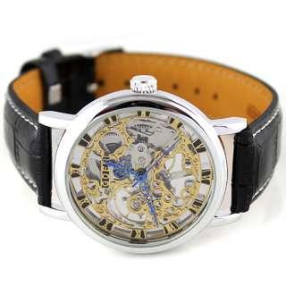 Hand Winding Silver Skeleton Mechanical Wrist Watch Black Band